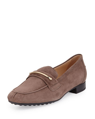 Suede Gommini Bar Penny Loafer, Sand