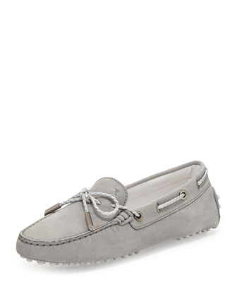 Heaven Laccetto Suede Drivers, Light Gray
