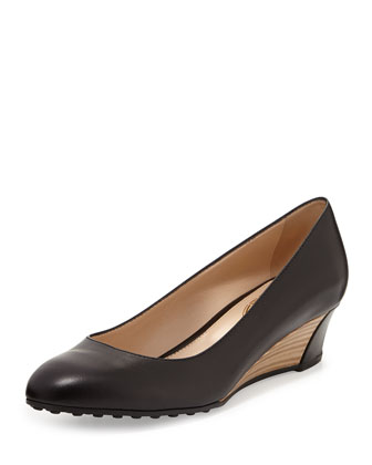 Zeppa Leather Wedge Pump, Black