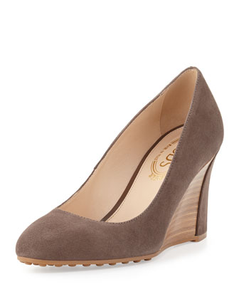 Zeppa Suede Wedge Pump, Sanda