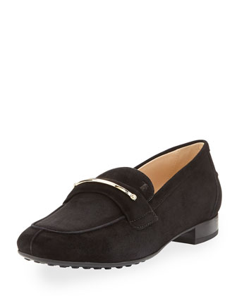 Suede Gommini Bar Penny Loafer, Black