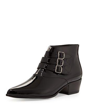 Triple-Buckle Low-Heel Patent Bootie, Black