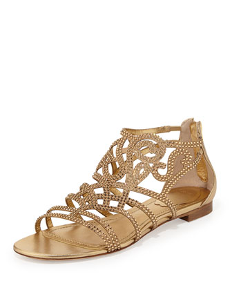 Crystal-Embellished Scroll Flat Sandal