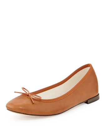 Leather Bow Ballerina Flat, Tan