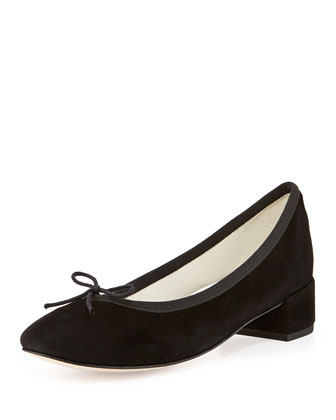 Suede Low-Heel Bow Flat, Black