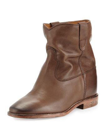 Cluster Slouchy Leather Ankle Boot, Brown