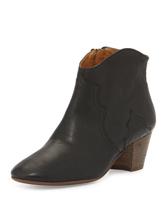 Dicker Leather Western Bootie, Brown