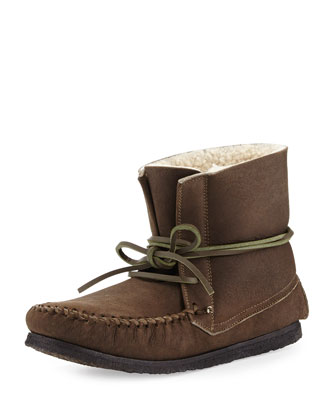 Eve Shearling Moccasin Boot, Olive