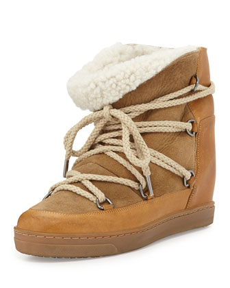 Nowles Shearling-Lined Lace-Up Bootie