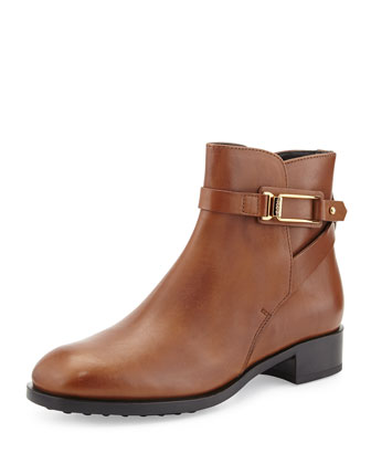 Flat Buckled Leather Ankle Boot