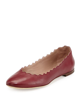 Lauren Scalloped Napa Leather Ballerina Flat, Wine
