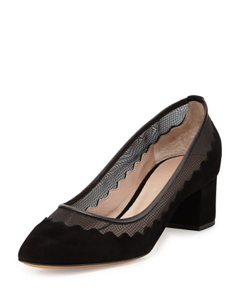 Bridget Scalloped Suede & Tulle Pump, Black