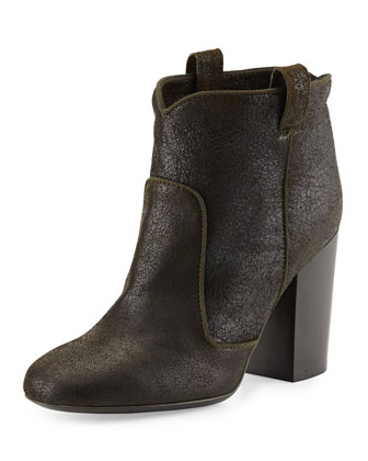 Pete Distressed Leather Ankle Boot, Black