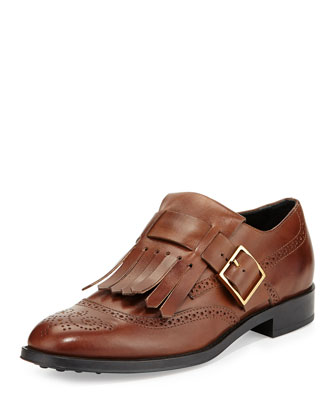 Leather Monk-Strap Loafer with Fringe, Tan