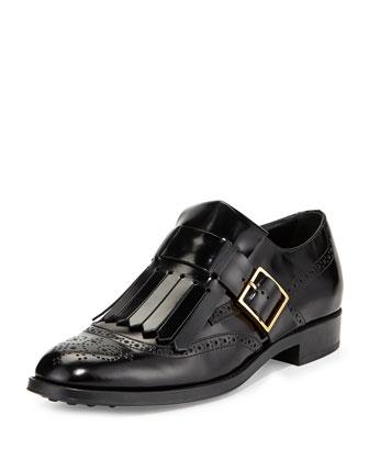 Leather Monk-Strap Loafer with Fringe, Black