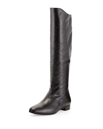 Leather Back-Zip Tall Boot, Black