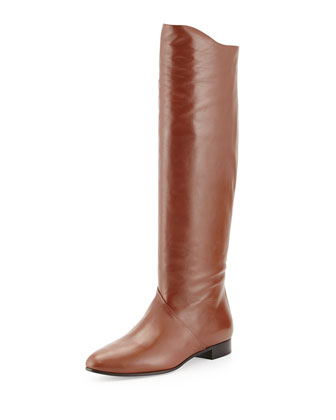 Leather Back-Zip Tall Boot, Tan