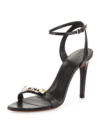 PS1 Leather Ankle-Strap Sandal, Black