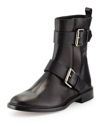 Double-Buckle Moto Ankle Boot, Black