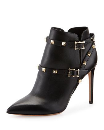 Rockstud Harness Ankle Boot, Black