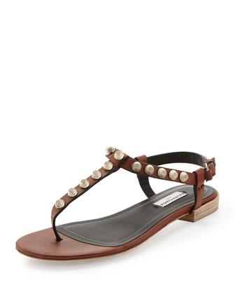 Arena Leather Thong Sandal, Caramel