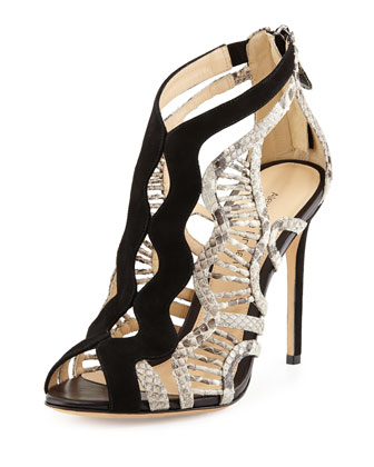 Suede and Python Wavy Sandal, Black/Natural