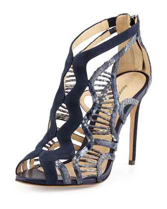 Suede and Python Wavy Sandal, Navy
