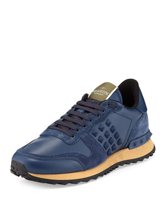 Rockstud-Trim Leather Trainer, Indigo