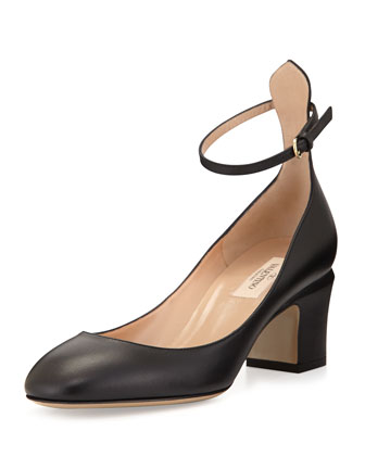 Tango Leather Ankle-Wrap Pump, Black