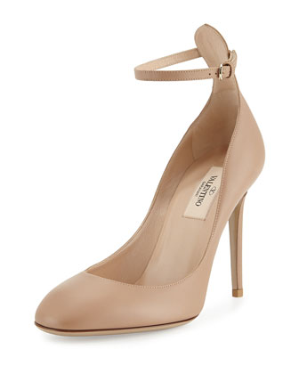 Tango Leather Ankle-Strap Pump, Beige