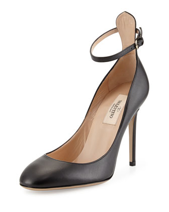 Tango Leather Ankle-Strap Pump, Black