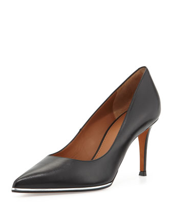 Leather Metallic-Midsole Pump, Black