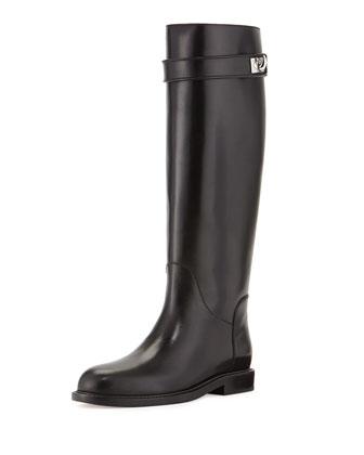Flat Shark-Lock Knee Boot