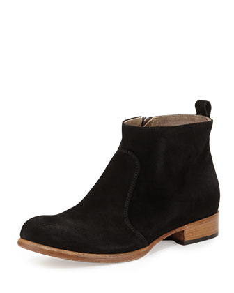 Nolita Flat Suede Ankle Boot, Black