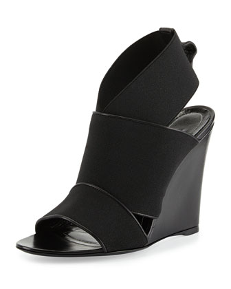 Stretch Wedge Sandal, Black