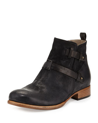 Donna Suede and Leather Ankle Boot
