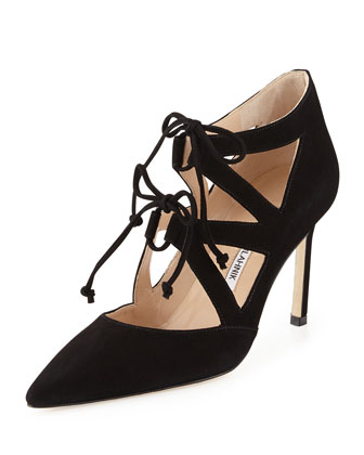 Asaki Double-Tie Suede Pump, Black