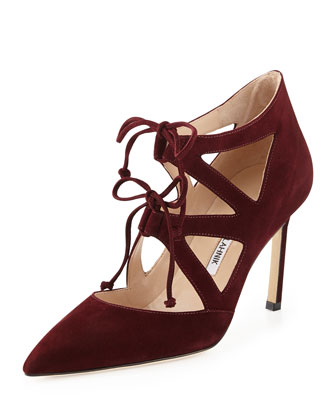 Asaki Double-Tie Suede Pump, Burgundy