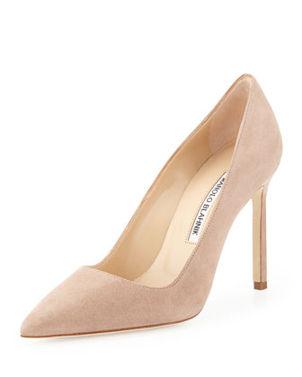 BB Suede Pointed-Toe Pump, Beige