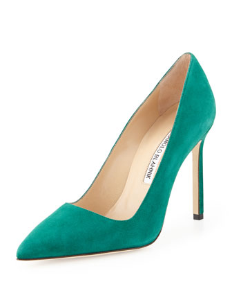 BB Suede Point-Toe Pump, Medium Green
