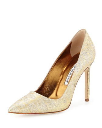 BB Jacquard Point-Toe Pump, Gold