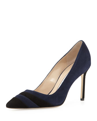 BB Two-Tone Suede Pump, Navy/Black