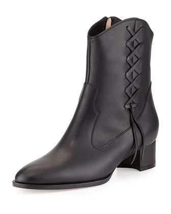 Camiri Laced-Side Western Bootie, Black