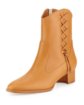 Camiri Laced-Side Western Bootie, Tan