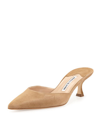 Carolyne Suede Pointed-Toe Mule, Taupe