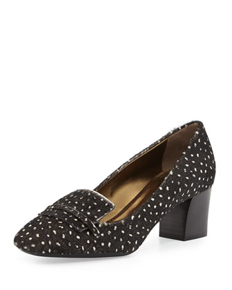 Dotted Calf Hair Loafer Pump