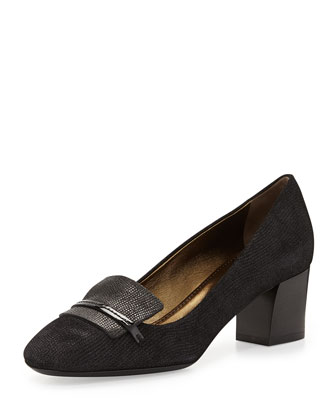 Stamped Block-Heel Loafer Pump
