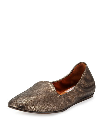 Metallic Scrunch Loafer Flat
