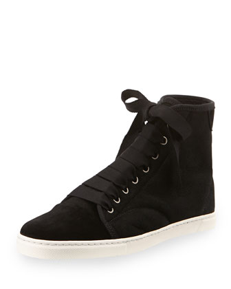 Shearling-Lined Suede Mid-Top Sneaker