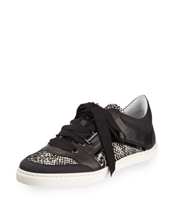 Jacquard and Leather Low Sneaker